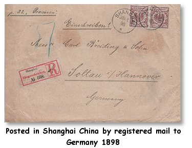 Commercial cover from China to Germany 1898